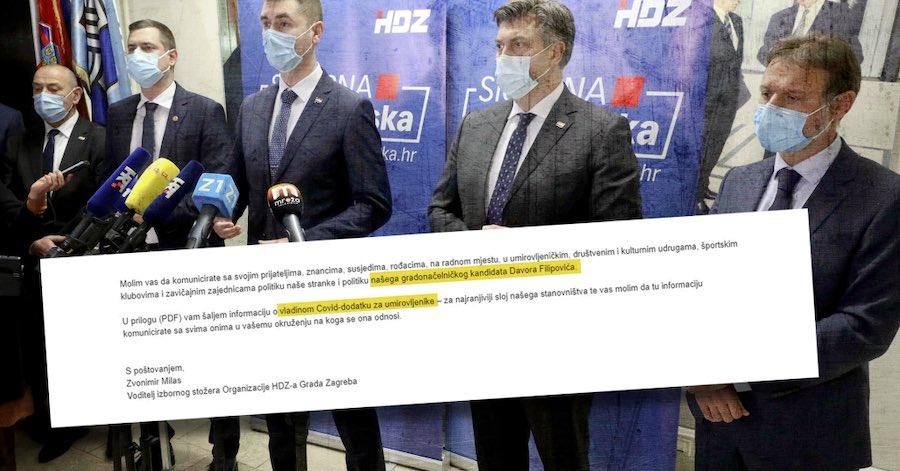 """HDZ-ov naputak kandidatima na lokalnim izborima: """"Hvalite Vladin covid-dodatak!"""""""